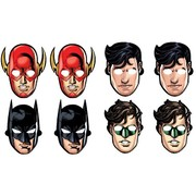 Justice League Cardboard Masks (Assorted Designs) Pk 8