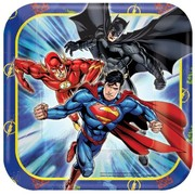 Justice League 7in. Square Paper Plates Pk 8