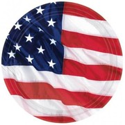 USA Flying Colours Stars & Stripes 10in Paper Plates Pk8