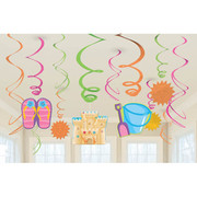 Fun In The Sun Hanging Swirl Decorations Pk 12
