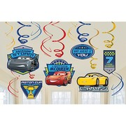 Cars 3 Hanging Swirl Decorations Pk 12