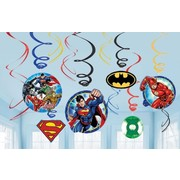 Justice League Hanging Swirl Decorations Pk 12