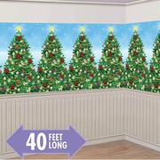 Christmas Trees Room Roll Scene Setter Decoration (1.2m x 12.1m) Pk 1