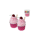 Hot Pink Gelati Cups with Blue Polka Dots - Pretty Surprise Pk 6