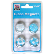 Blue Glass Magnets Pk 4