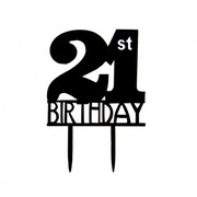 Black 21st Birthday Acrylic Cake Topper Pk 1