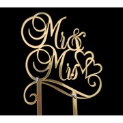 Gold Mr & Mrs Engagement Acrylic Cake Topper Pk 1