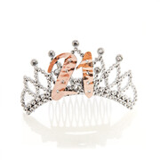 Rose Gold 21 Plastic Tiara with Diamantes Pk 1