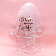 Bride To Be Rose Gold Hens Party Veil with Hair Clip Pk 1