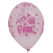 Balloons Latex All Over It's a girl Metallic Pink Pk50
