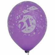 Balloons Latex All Over 21 Purple Pk10