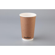 Eco Smooth Double Wall Kraft Brown 16oz. (473ml) Coffee Cup Pk 25