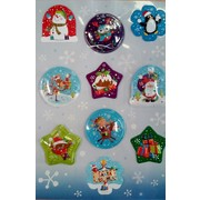 Assorted Bubble and Glitter Shaker Christmas Stickers (1 Sheet of 10 Stickers)