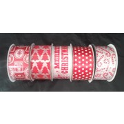 Assorted Red Christmas Print Fabric Ribbon Roll (38mm x 3m) Pk 5