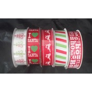 Assorted Red & Green Christmas Print Fabric Ribbon Roll (22mm x 3m) Pk 5