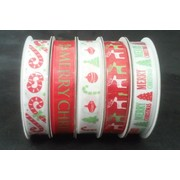 Assorted Red & Green Christmas Print Fabric Ribbon Roll (15mm x 3m) Pk 5