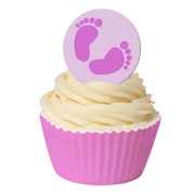 Baby Girl Pink Feet Edible Cake Decorating Wafer Toppers Pk 12