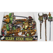 Halloween Decoration - Assorted Scary Heads on Sticks Pk 3