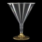 Plastic Cocktail Glasses - 220ml Gold Base Pk 10
