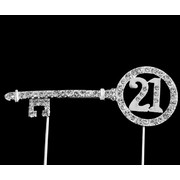 21 Key Diamante Cake Topper Decoration Pk 1