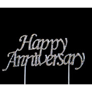 Happy Anniversary Diamante Cake Topper Decoration Pk 1