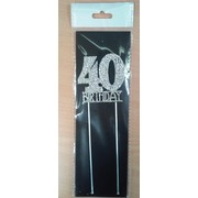 40th Birthday Diamante Cake Topper Decoration (6cm) Pk 1