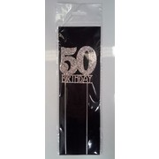 50th Birthday Diamante Cake Topper Decoration (6cm) Pk 1