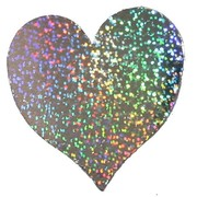 Holographic Silver Heart Cutout (220mm) Pk1