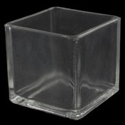 Candle Holder Cube Clear Pk1