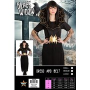 Adult Black Spider Widow Halloween Costume (Medium) Pk 1