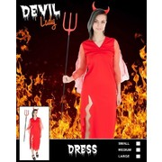 Adult Halloween Devil Lady Costume (Large) Pk 1 (DRESS ONLY)