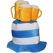 Oktoberfest Blue & White Striped Hat with Beer Mugs Pk 1