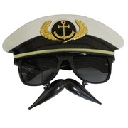 Ship Captain's Hat Novelty Glasses with Hanging Moustache Pk 1