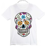 Halloween Child White Day of the Dead Costume T-Shirt (Medium) Pk 1