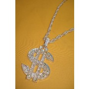 Silver Bling Dollar Chain Necklace Pk 1
