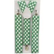Adult Suspenders - Green with White Shamrocks Pk 1