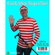 Adult Where's Walter Red and White Stripe Shirt Pk 1(Shirt Only)