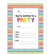Colourful Party Invitations & Envelopes Pk 16