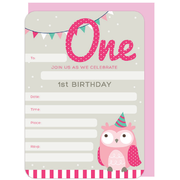 1st Birthday Girl Invitations & Envelopes Pk 16