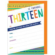 13th Birthday Invitations & Envelopes Pk 16