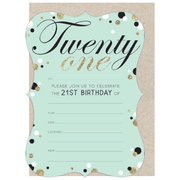 Fancy 21st Birthday Invitations & Envelopes Pk 16