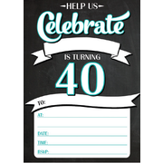 40th Birthday Party Invitation Pad Pk 20