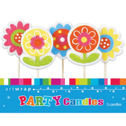 Bright Flowers Party Cake Candles Pk 5