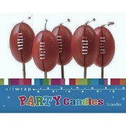 Dark Brown Football Party Cake Candles Pk 5
