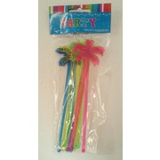 Assorted Colour Palm Tree Swizzle Sticks Pk 12
