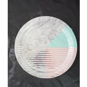 Marble Design Grey, Pink & Mint 9in. Paper Plates Pk 8