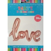 Rose Gold Foil Balloon Love Script Banner Pk 1 (Air Inflation Only)
