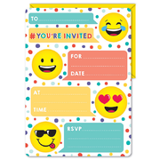 Emoji Party Invitations & Envelopes Pk 16