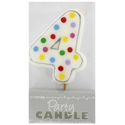 Party Candle Polka Dots #4 Pk1