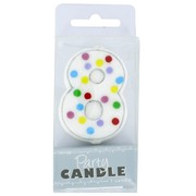 Party Candle Polka Dots #8 Pk1